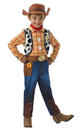 Rubies Officieel Woody-Deluxe Kinderkostuum, Disney, Toy Story, Maat M Kostuums Medium