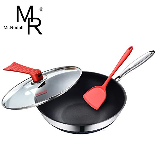 Mr Rudolf 18/10 Stainless Steel Nonstick Stir Fry Pan with Glass Lid amp Bonus Silicone Spatulas 12inch MultiPly Wok Dishwasher Safe Oven Safe
