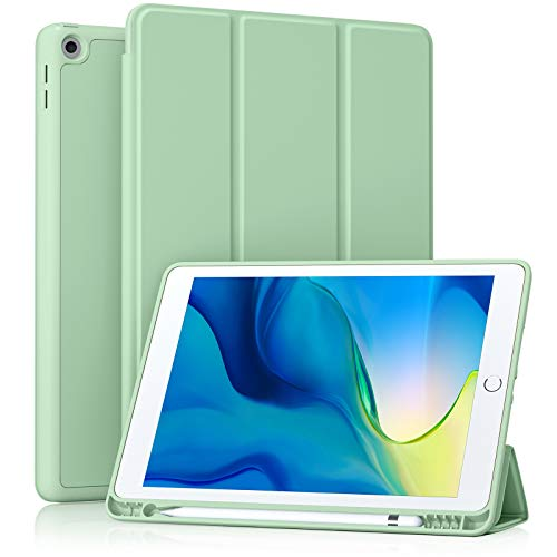 Akkerds Case Compatible with iPad 10.2 2020 iPad 8th Gen/2019 iPad 7th Gen with Pencil Holder, Protective Case with Soft TPU Back, Auto Sleep/Wake Cover Compatible for iPad 8th/7th Gen, Green