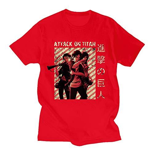 Camiseta Attack On Titan 3D Attack On Titan Ropa de Hombre de Manga Corta Attack On Titan Shingeki No Kyojin Ropa Levi Ackerman para Fanáticos del Anime Japonés Casual (Red,L)