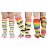 Epeius 3 Pairs Baby Girl Rainbow Striped Knee High Socks Cotton Non-Skid Uniform Tube Stockings Toddler Girls Grip Socks for 12-36 Months,Classic Rainbow Multi