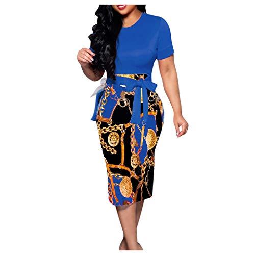 SHINEHUA Damen Vintage Kurzarm Bodycon Business Bleistift Kleid Elegant Etuikleid Bleistiftkleid Cocktailkleid Hips-Wrapped Pencil Kleid