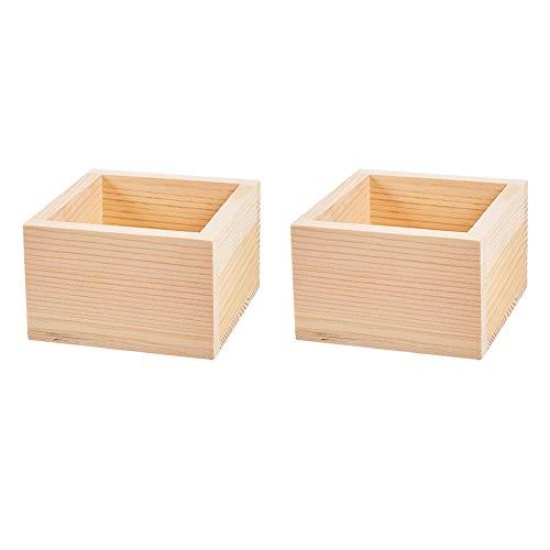 WANDIC Caja de almacenamiento de madera de color natural sin tapa para guardar accesorios, cosméticos, papelería, hogar, oficina, escuela, 8 x 8 cm