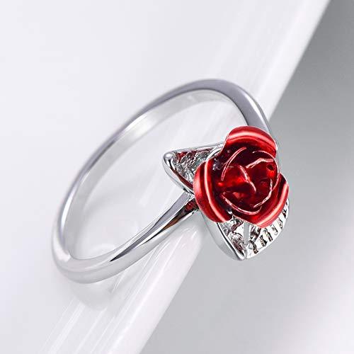 Onewell Red Rose Ring Ajustable Para Mujeres Joyería de Moda Regalo del...