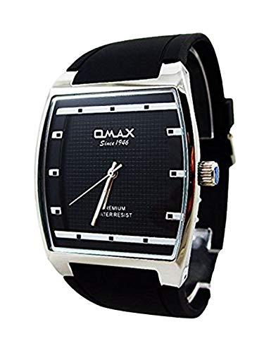 Kleid Stil Omax Mens Wrist Watch schwarz Silikon Band Silber Border analogen Zifferblatt Quarz