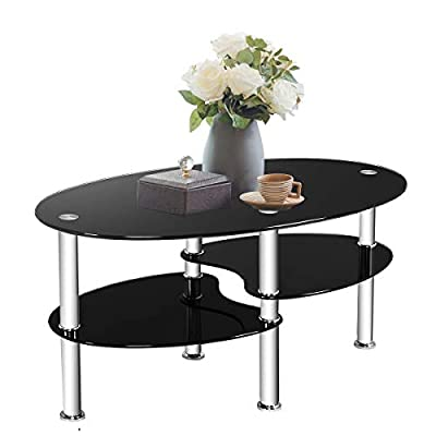Tangkula Glass Coffee Table for Home Office with 2 Tire Tempered Glass Boards & Sturdy Chrome Plated Legs Smooth Oval Glass End Table Modern Coffee Tea Table