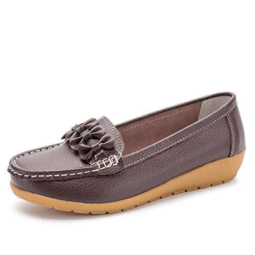 Mocasines Cuero Mujeres Planas Zapatos Ocasionales Barco, Señoras Arco-Nudo Cuero Zapatos Barco...