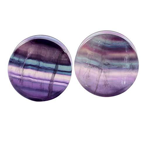 Homeilteds 1 Pareja Fluorite Sillín Piedra Ear Enchufe Expansión Pesos Oído Pesos Cuerpo Piercing Joyería Plugs (Metal Color : 6mm)