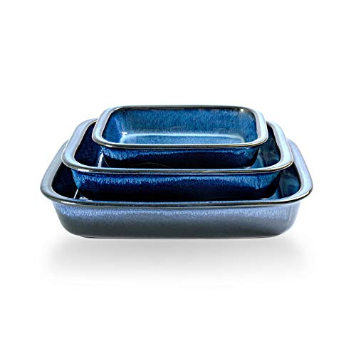 Baking Dish Set of 3, UNICASA Ceramic Bakeware Set, 9x13 Casserole Dish Reactive Glaze Space Blue, Rectangular Baking Pans for Oven, Lasagna Pans for Cooking