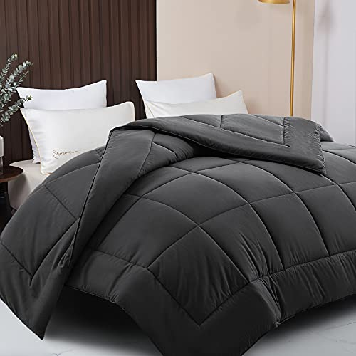 RYONGII All-Season Down Comforter King Grey Size Cooling Soft Reversible Alternative Hypoallergenic Hotel Plush Microfiber Fill Insert Angle Label Warm Fluffy Machine Washable 90 x 102 Inches