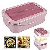 Bento Box Hermetico, Lunch Bento Box con 3 Compartimentos y Cubiertos, Fiambreras bento, Fiambrera...