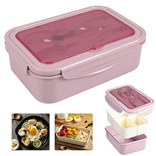 Bento Box Hermetico, Lunch Bento Box con 3 Compartimentos y Cubiertos, Fiambreras bento, Fiambrera infantil adecuada para hornos de microondas y lavavajillas(1400 ML)