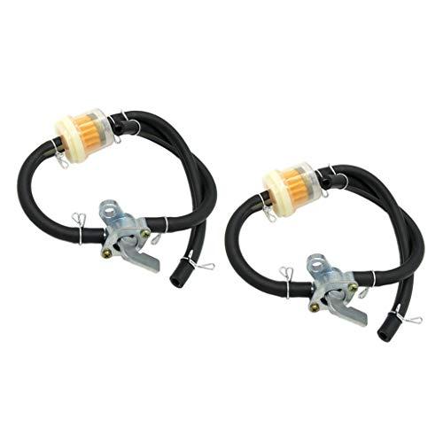 H HILABEE 2X Universal Motorrad Kraftstofffilter Benzinfilter mit Schlauch und Benzinhahn für 50-150 CCM Go Kart, ATV usw.