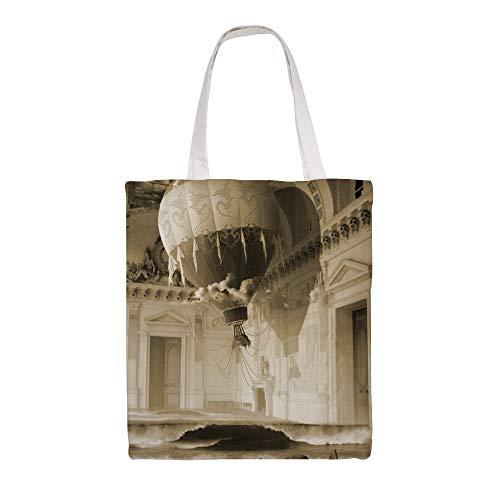 Bolsa de la compra de tela para el hombro, diseño de la luna tropical de la escena de la noche ilustración de la escena de lona, bolsa de la compra reutilizable Ljtceo11pvgr-arres36