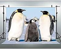 HDかわいいペンギンの背景極地雪のシーン動物のテーマの写真撮影の背景スタジオの小道具7x5Ft 358
