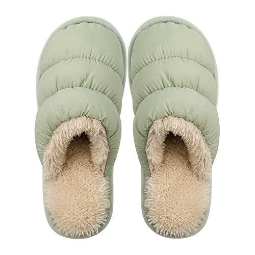 B/H Hombre Invierno cómodo Zapatillas,Zapatillas de Invierno par de algodón, Zapatos de Felpa Impermeables y cálidos-Green_39-40,Zapatos Antideslizante Pantuflas