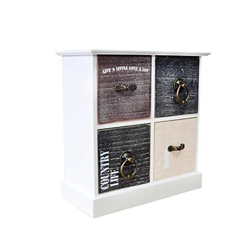 DRULINE Mini Kommode Schubladen Ablagefläche Schmuckkasten mit Stauraum zur Aufbewahrung aus Holz 4 Fächer Hoch Schlafzimmer Wohnzimmer Platzsparend | LHC40W | L x B x H 22 x 10 x 23 cm | Weiß Natur