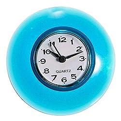 N /A Wall Clock Waterproof Shower Clock Bathroom Kitchen Suction Home Clock Wall Timer 3.39inch Blue