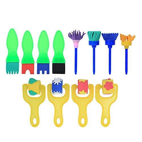 Esponja rodillo de pintura esponjas de pintura cepillo de pintura de esponja cepillo de pintura herramienta de pintura para niños para pintar(2)