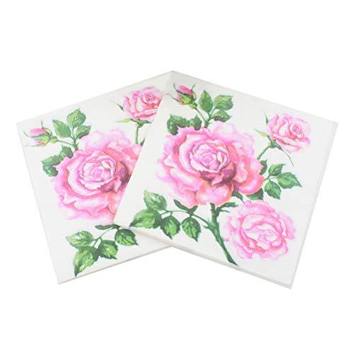 Amosfun Servilletas de Papel Desechables de 20 Piezas servilletas Impresas con Flores Rosas servilletas Decorativas...