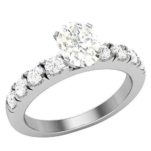 Glitz Design Mujer Niños Hombre Unisex oro 14 quilates (585) oro blanco 14 quilates (585) ovalada round-brilliant-shape Diamond