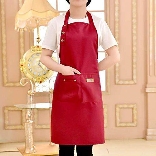 ZUEN Küchenschürze, Schürzen für Frauen mit Taschen Schürzen für Frauen mit Taschen Kochschürze mit verstellbarem Hals Extra Lange Krawatten Kellnerinnen Schürze,Red