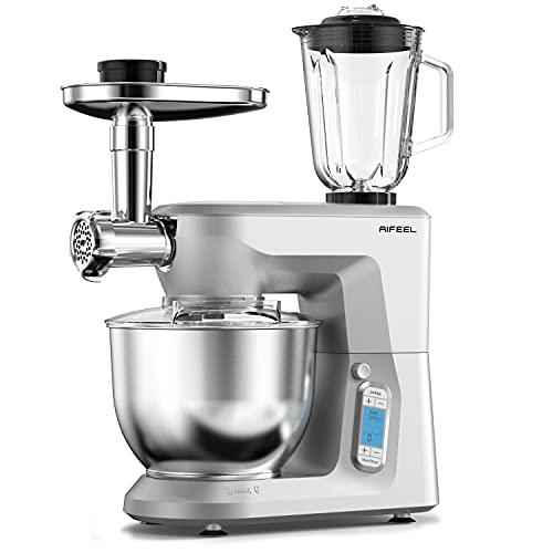 AIFEEL 1500W Küchenmaschine, 6 in 1 Multifunktions Knetmaschine mit LCD Bilderschirm, 6L leise Rührmaschine mit Knethaken, Schneebesen, flachem Schläger, Entsafter und Fleischwolf - Silber