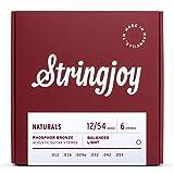 Stringjoy NB1254 Handmade Natural Bronze Acoustic Guitar Strings, (Light Gauge - 12-54)