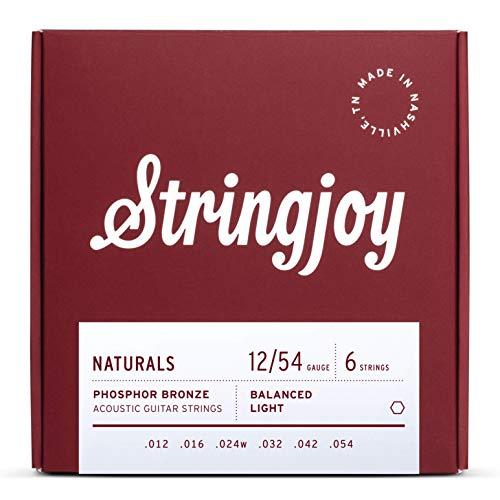 Stringjoy NB1254 Natural Bronze Acoustic Guitar Strings, (Light Gauge - 12-54)