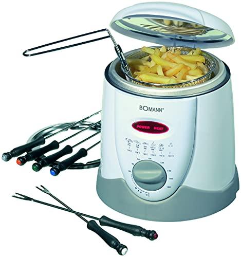 elektrische Fritteuse Fondue für 6 Personen - Friteuse - Frittieren - Oel Kapazität ca. 1 Liter (leistungsstarke 900 Watt + inkl. Fondue-Gabeln und Fritierkorb)
