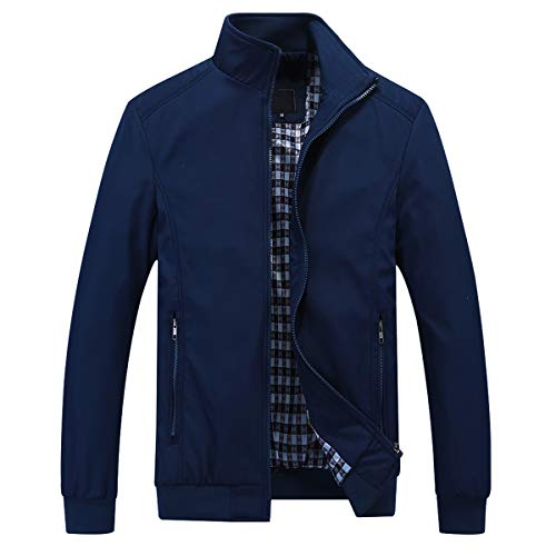 YOUTHUP Mens Jacket Casual Stylish Bomber Coat weight Vintage Outwear Jackets and Coats, Blue, L
