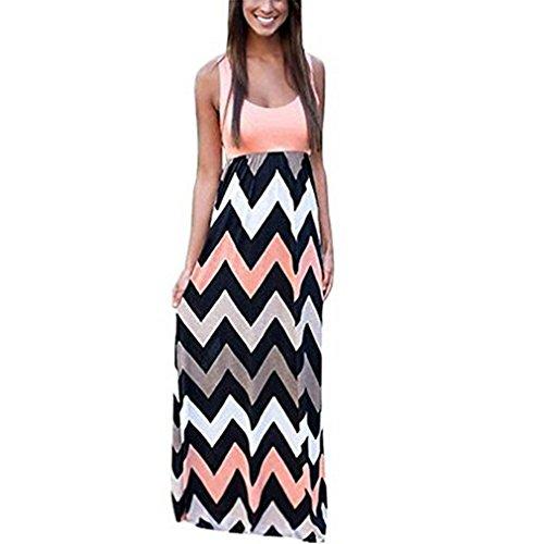 Cloudsemi Damen Sommerkleid Kleider Maxikleid Streifen Schulterfrei Rundhals High Waist Lang Kleid Partykleid (S, Rosa)