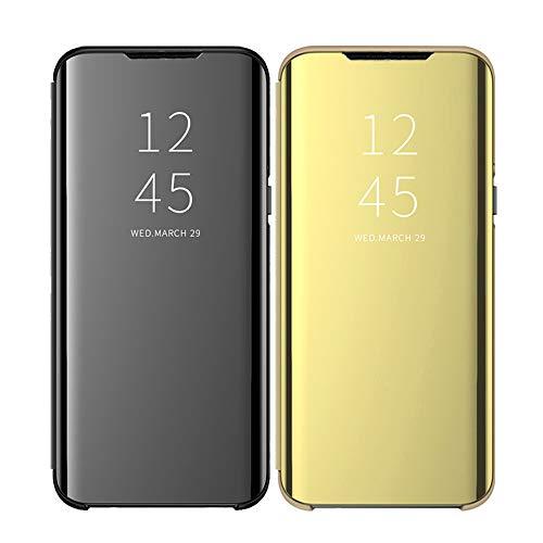 Clear View Standing Cover für das Samsung Galaxy A41, kompatibel mit Galaxy A41, Spiegel Handyhülle Schutzhülle Flip Cover Schutz Tasche mit Standfunktion 360 Grad hülle für Galaxy A41-34