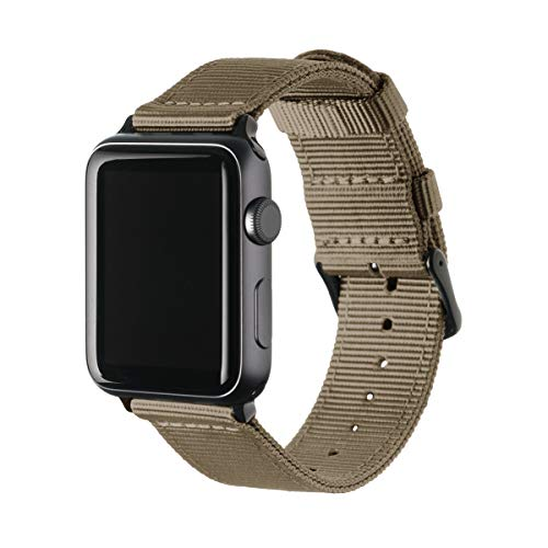 Archer Watch Straps Nylon Uhrenarmband für Apple Watch - Khaki/Schwarz, 42/44mm