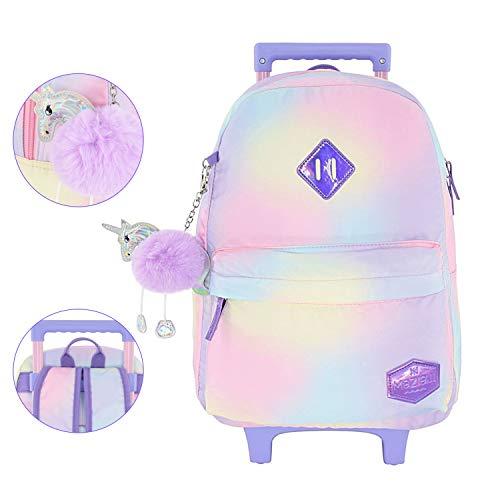 Mozioni Kids Rolling 18' Luggage for Girls, Carry-on School & Travel Lightweight Backpack for Boys rubber Wheel & Coloring Nylon fabric Cabin Size