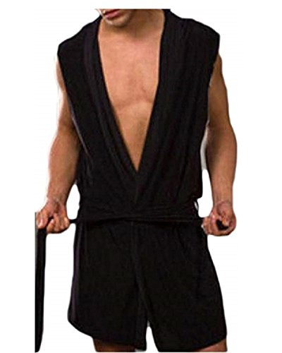 Herren-Bademantel mit Kapuze, ärmellos, vorne offen, Schlafanzug, seidiger Stoff, Gürtel - Schwarz - Medium