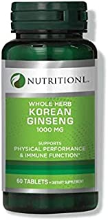 Nutritionl Whole Herb Korean Ginseng 1000 mg 60 Tablets