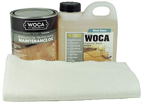 Woca Pflegeset inkl. 1 L Holzbodenseife, 1 L Pflegeöl, Ölsaugtuch *Natur*