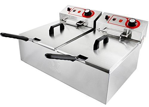 Beeketal 'BTF20a' Doppel Kaltzonen Fritteuse (2 x 9 Liter Volumen für max. 2 x 5 Liter Öl) Edelstahl Friteuse mit Temperaturkontrolle (Basic Serie)