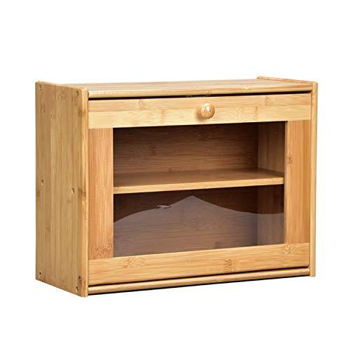 JIAODIE - Panera de bambú de 2 capas, doble decker, caja de