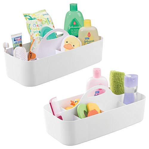 mDesign - Organizador integral del baño del bebé/niño, para el cuarto de baño; organiza champú, acondicionador, talco, medicamentos - grande - Blanco - Paquete de 2