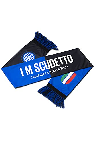 Inter Sciarpa I M Scudetto 20-21, Campioni d Italia, Poliestere, Unisex Adulto, Nero Blu, Taglia Unica