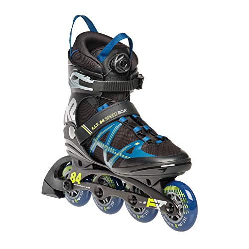 K2 Skates Herren Inline Skate F.I.T. 84 Speed Boa — black - blue - yellow — EU: 46 (UK: 11 / US: 12) — 30E0361