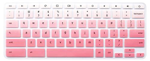 Keyboard Skin for 2018 2017 Acer Chromebook Premium R11 11.6 CB5-132T CB3-132 CB3-131, Acer Chromebook R 13 CB5-312T, Acer Chromebook 14 CP5-471, Acer Chromebook 15 CB3-532 CB5-571 C910 (Ombre Pink)