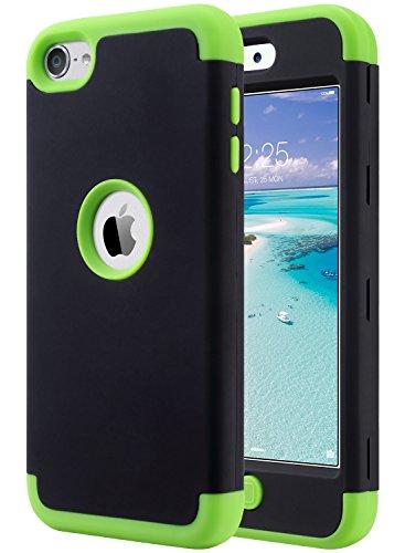 ULAK iPod 7 Hülle, iPod Touch 5/6 Hybrid Kratzfeste Schutzhülle 360 Grad Soft Silikon Stoßfest Bumper Case Cover für iPod Touch 5/6/7 Generation - Schwarz Grün