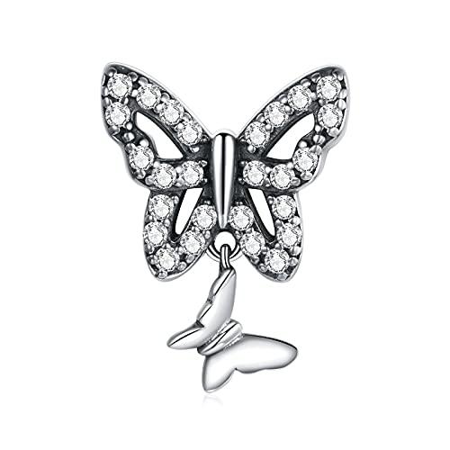 Regalo para Mujer Cuentas De Plata De Ley 925 Doble Mariposa Dijes Finos Cuentas Colgantes Pulseras Collares Cuentas Fabricación De Joyas DIY