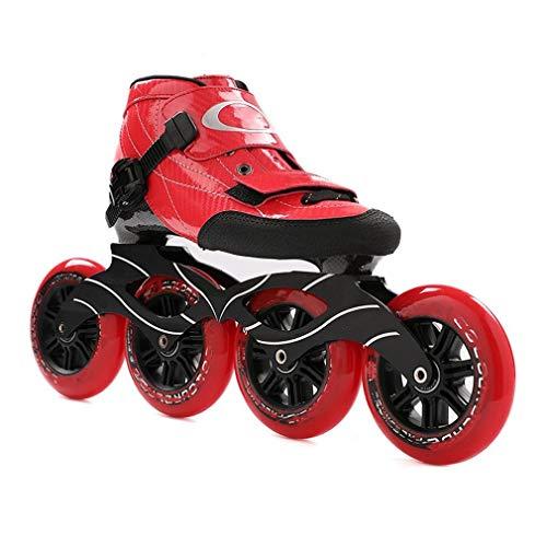 Sljj Erwachsener Im Freien Beruf 90/100 / 110mm 4-Rad Inline Skate, Rennen Der Rochen Für Männer Und Frauen (Color : Red, Size : 41 EU)