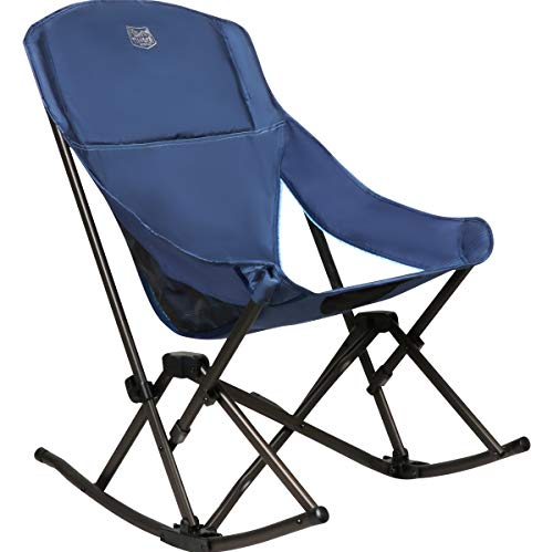 "Timber Ridge Compact Rocking Camping Chair, Polyester, Blue, 19""W x 17.3""D x 16.5"" x 35.4""H"