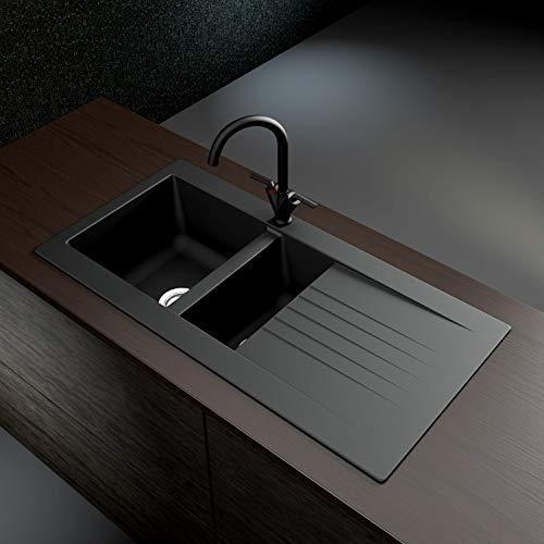 Essence Amelia BeBa_26201 Black Undermount and Inset Granite Fibertek Composite 2 Bowl Kitchen Sink - 1000 x 500mm