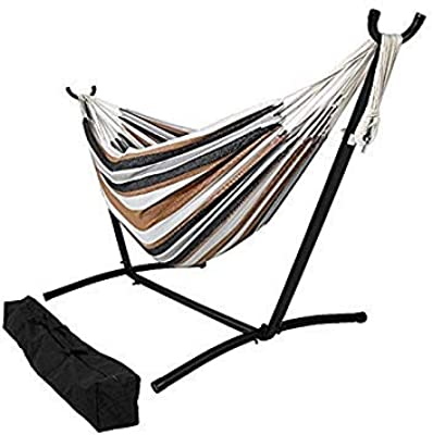 OceanTailer Brazilian Double Hammock Bed with Stand for 2 Person, Portable Steel Stand Hammock Bed for Indoor or Outdoor Use with Carrying Pouch in Desert Colors